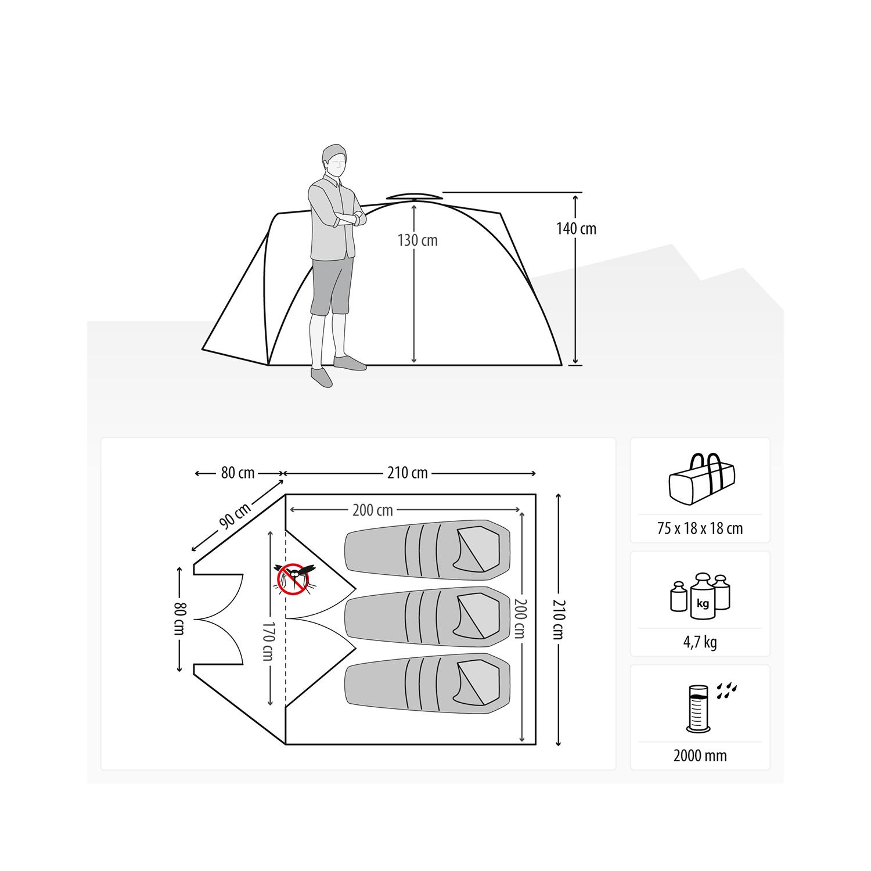 QEEDO – Quick Pine 3 – Campingzelt – SURVIVALZONE